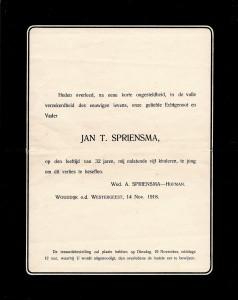 Spriensma, Jan T +1918-11-14